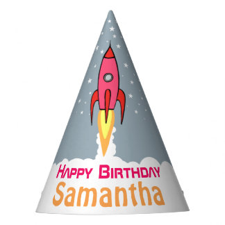 Pink Retro Rocketship Personalized Birthday Girl Party Hat