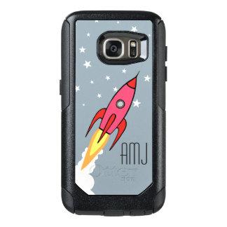 Pink Retro Rocketship Personalized Monogram Kids OtterBox Samsung Galaxy S7 Case