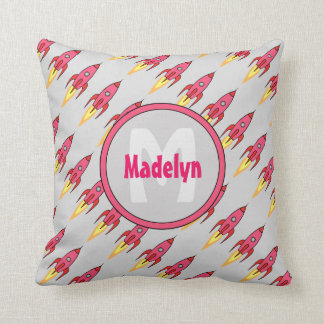 Pink Retro Rocketship Personalized Monogram Throw Pillow