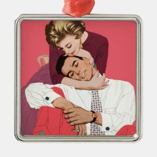 Pink Retro Romance Vintage Romantic Love Christmas Tree Ornament