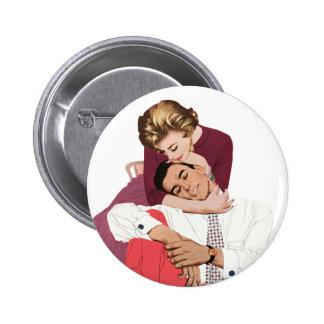 Pink Retro Romance, Vintage Romantic Love Pinback Button