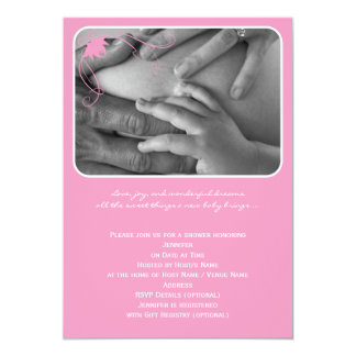 Pink Retro Rounded Corner Baby Boy Shower Card