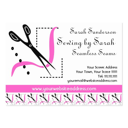 Pink Retro Seamstress Alterations Tailor Large Business ...