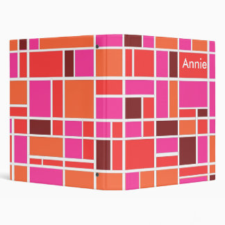 Pink Retro Squares 3 Ring Binder
