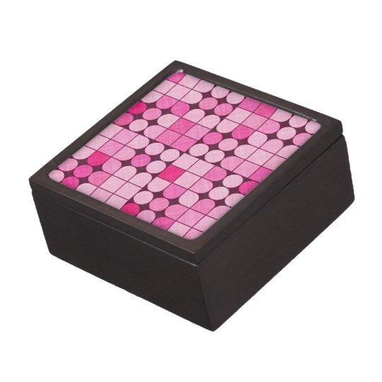 Pink Retro Squares and Circles Design Jewelry Box