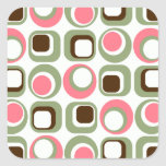 Pink Retro Squares and Circles Square Sticker