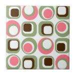 Pink Retro Squares & Circles Ceramic Tile