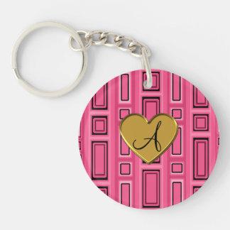 Pink retro squares monogram Single-Sided round acrylic keychain