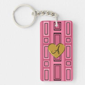 Pink retro squares monogram Single-Sided rectangular acrylic keychain