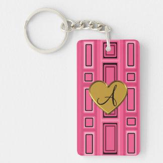 Pink retro squares monogram Double-Sided rectangular acrylic keychain