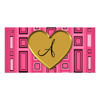 Pink retro squares monogram photo greeting card