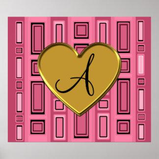 Pink retro squares monogram posters