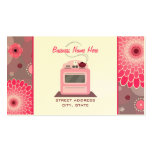 Pink Retro Stove Flowers & Dots Chef Caterer Double-Sided Standard Business Cards (Pack Of 100)