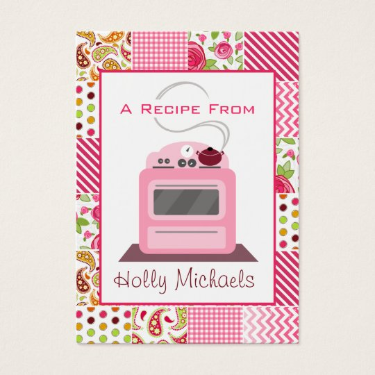 Pink Retro Stove Girly Patchwork Business Card