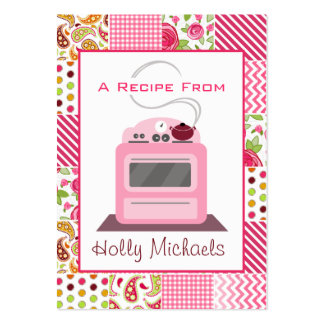 Pink Retro Stove Girly Patchwork Large Business Card