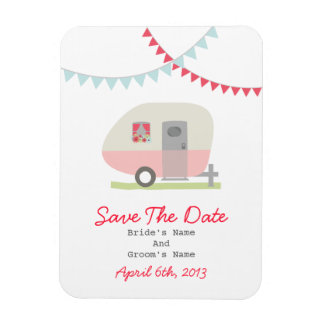 Pink Retro Trailer Save The Date Magnet