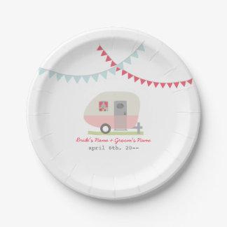 Pink Retro Trailer Wedding Paper Plate