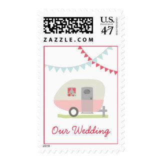 Pink Retro Trailer Wedding Postage