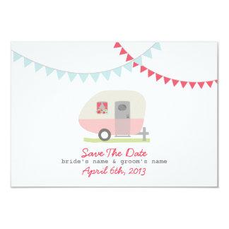 Pink Retro Trailer & Wedding Save The Date 3.5x5 Paper Invitation Card