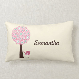 Pink Retro Tree Personalised Pillow