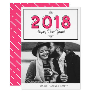 Pink Retro Typography Happy New Year 2018 Photo Card