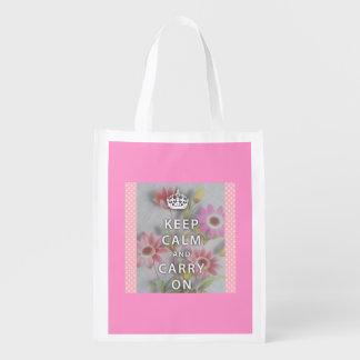 Pink Reusable Bag with Keep Calm Slogan Grocery Bags