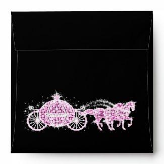 Pink Rhinestone Cinderella CarriagEnvelope