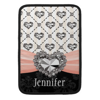 Pink Rhinestone Heart Bling Macbook Air Sleeve 13