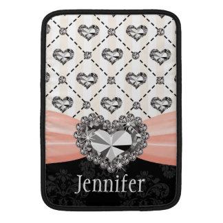 Pink Rhinestone Heart Bling Macbook Air Sleeve 13
