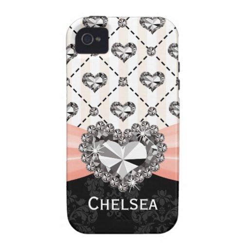 Pink Rhinestone Heart iPhone 4 Case Mate Tough