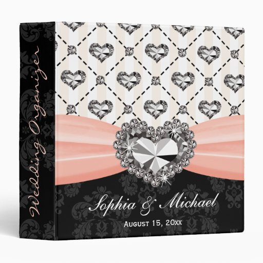 Pink Rhinestone Look Heart Wedding Planner Vinyl Binder