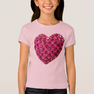 pink rhinestone love heart girls t shirt