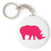 Pink Rhino Keychain