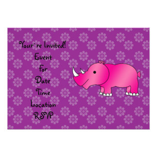 Pink rhino purple flowers personalized announcements