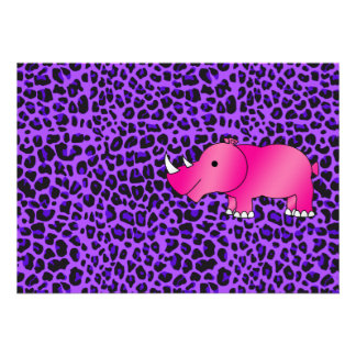 Pink rhino purple leopard pattern personalized announcements
