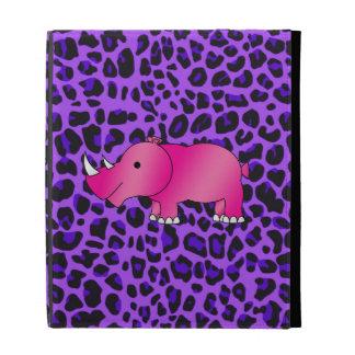 Pink rhino purple leopard pattern iPad folio case