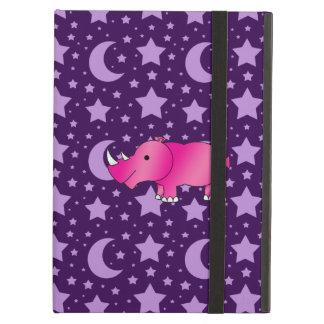 Pink rhino purple stars and moons iPad air cover