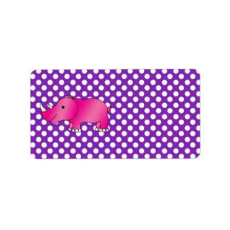 Pink rhino purple white polka dots custom address labels