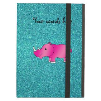 Pink rhino turquoise glitter iPad air case