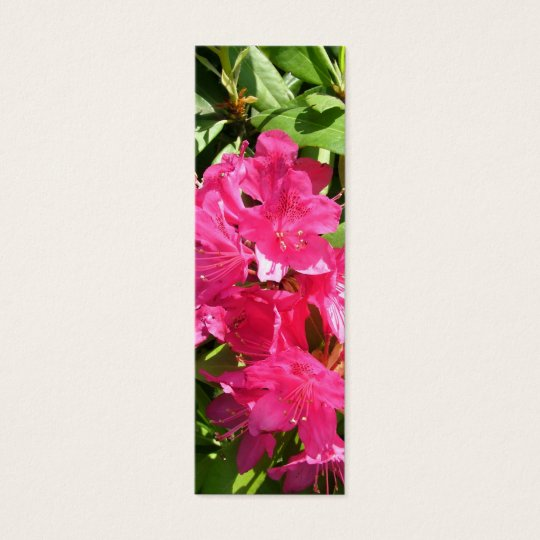 pink rhododendron and blue iris mini business card