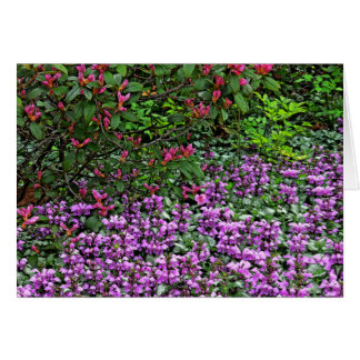 """PINK RHODODENDRON AND PURPLE AZALEAS"" NOTECARD"