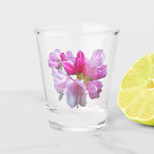 Pink Rhododendron Flower Floral Shot Glass