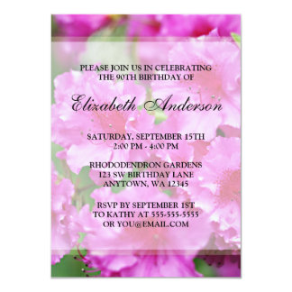 "Pink Rhododendron Flowers 90th Birthday Party 4.5"" X 6.25"" Invitation Card"