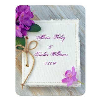 Pink rhododendron on journal cover wedding card