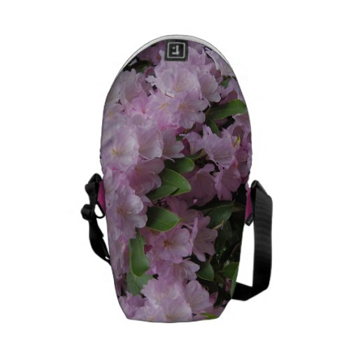 Pink rhododendrons messenger bags