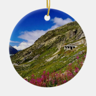 Pink Rhone Glacier cuts through the Burnese Alps f Double-Sided Ceramic Round Christmas Ornament