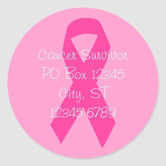 Pink Ribbon Address Classic Round Sticker
