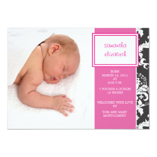 Pink Ribbon and Damask Birth Announcement