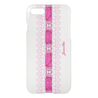 Pink Ribbon and Lace Clear iPhone 7 Case