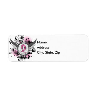 Pink Ribbon And Wings Breast Cancer Label